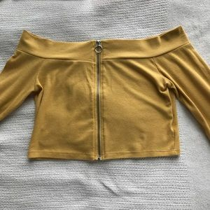 Yellow off the shoulder O-ring long sleeve